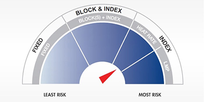 Image displays various levels of risk with fluctuating energy prices, indicating the Location Marginal Pricing (LMP) Index offers a higher risk tolerance and the Fixed price offers a lower risk tolerance.